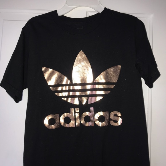 look for new high quality great prices Black and Rose Gold Trefoil Adidas Tee Shirt! Xs